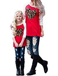 Women Girls Mommy and Me Matching 3/4 Sleeve Shirt Mother Daughter Heart Leopard Tops