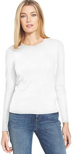 Eileen Fisher Stretch Silk Jersey Long Sleeve Crew Neck Top