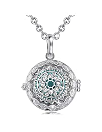 EUDORA Harmony Ball Snowflake Necklace Women Necklace Angel Caller Bell Pendant Bola de Grossesse Pregnancy Novelty Jewelry Lockets Chime Necklace Best Gift for Women, 76.2cm + 114.3cm