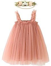 LZH Layered Dress for Toddler Baby Girl Rainbow Tutu Princess Summer Skirt with Flower Headband