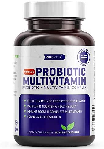 GoBiotix Probiotic Multivitamin | Daily Multivitamin with Probiotics | 25 Billion CFU | Immune Boost & Digestive Health, Flora Probiotic for Women & Men | Gluten Free ● 90 Veggie Capsules