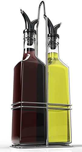 Royal Oil and Vinegar Bottle Set with Stainless Steel Rack and Removable Cork – Dual Olive Oil Spout – Olive Oil Dispenser, 17oz Olive Oil Bottle and Vinegar Bottle Glass Set