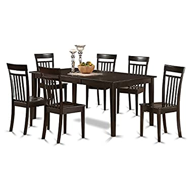 East West Furniture HECA7-CAP-W 7-Piece Dining Table Set