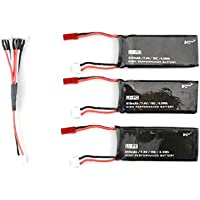 DZT1968 3PCS black JST Plug 7.4V 610mAh 15C 4.5Wh Battery +1 x Cable For Hubsan H502S H502E RC Quadcopter