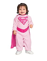 Rubies Superman Romper with Removable Cape Pink Supergirl, Pink Print