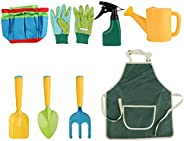 mewmewcat 8 PCS Conjunto de ferramentas de jardim infantil meninos meninas brinquedos de jardim sacola kit de