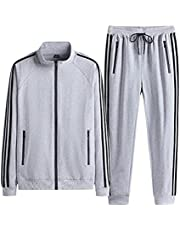 Men's sports 2-piece sportswear casual jogging suit sports suit, Jogging Bottoms & Training Jacket are Breathable Quick Drying, Gym Trousers Sweat Suits (Color : Light gray, Size : XXL)