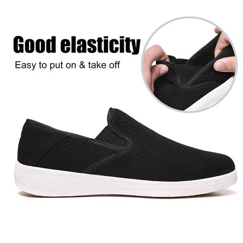 EXEBLUE Women Comfortable Slip On Walking Shoes - Stylish Loafter Shoes for Indoor and Outdoor Work Black