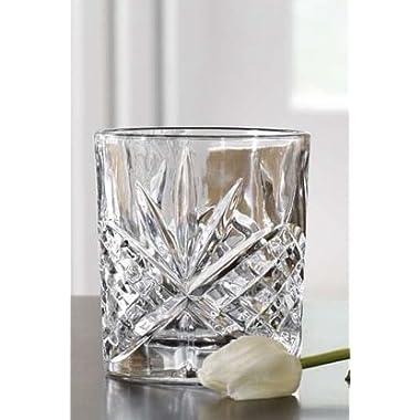 James Scott Double Old Fashioned Crystal Drinking Glasses Set, Irish Cut Design - Set of 4 - 8 Oz
