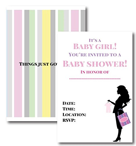 Things Just Got Real Girl Baby Shower Invitations by L and P Designs Set Includes 50 Invitations with Envelopes -