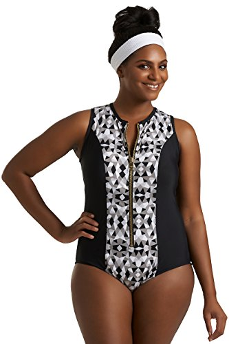 Always For Me Timothy Snell Women's Plus Size Front Zip One Piece Jaden Scuba Swimsuit - Ladies' Swimwear - Gray - Jaden, 16 Plus ()