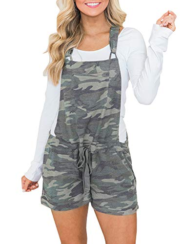 - chimikeey Women's Casual Summer Camo Short Overalls Jumpsuit Striped Front Flap Pocket Short Romper (Medium, Picture Color-1)