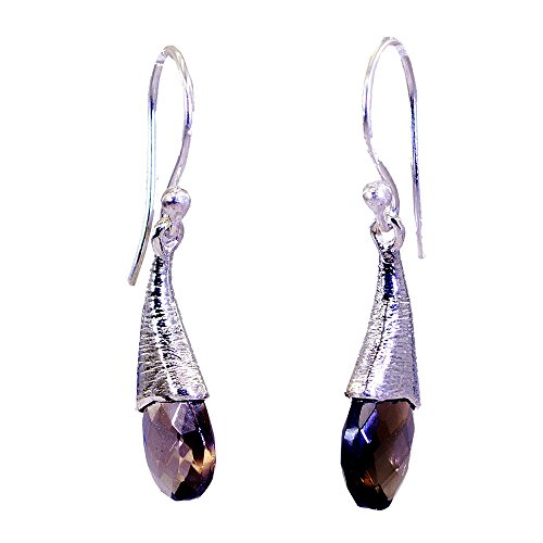 Genuine Smoky Quartz Drop Earrings For Women Oval Shape Fashion Jewelry For Gift Long Hook (Faceted Oval Smoky Quartz Ring)