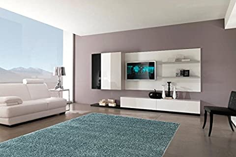 Sweet Home Stores Cozy Shag Collection Teal Solid Shag Rug Contemporary Living & Bedroom Soft Shaggy Area Rug, 94
