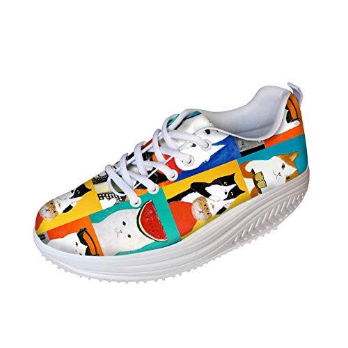 FOR U DESIGNS Funny Shoes Woman Platform Swing Wedges Cartoon Cat Painting Ladies Outdoor Walking Sneakers Shake US 10