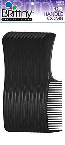 Brittny Bulk Handle Combs - Black 12-Count (Pack of 6)