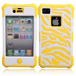 White Zebra Protective Case for iPhone 4/4S Yellow
