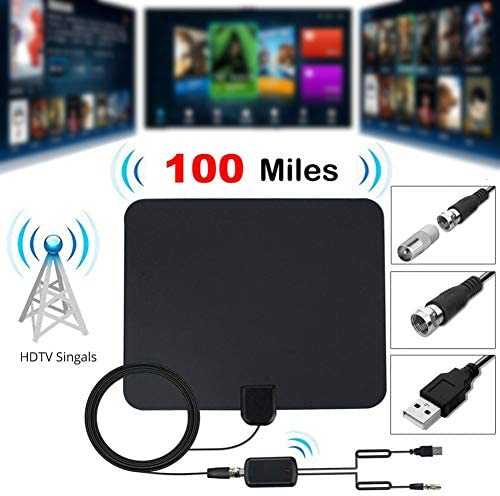100 Miles Indoor VHF UHF HD Digital TV Antenna Aerial with S