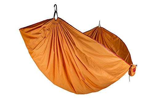 Grand Trunk Double Trunktech Nylon Hammock: Portable with Carabiners and Hanging Kit - Perfect for Outdoor Adventures, Backpacking, and Festivals, Sunset Orange ()