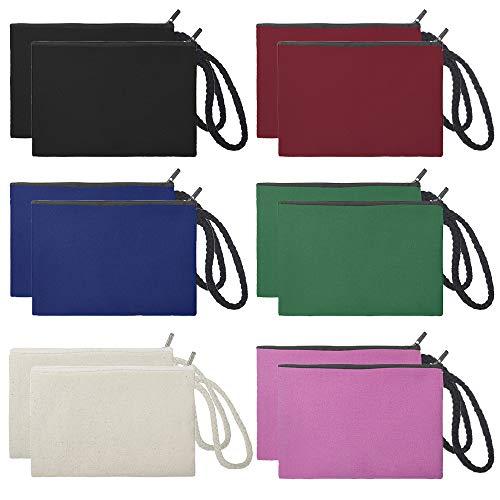 (Aspire 12-Pack 100% Cotton Canvas Wristlet Bags Assorted Color Bags Party Favor)