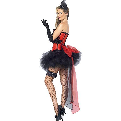 Smiffys Women's Burlesque Instant Kit,  Gloves, Headpiece, Garter, Tights and Bustle, One Size, Colour: Black and Red, 23084 -