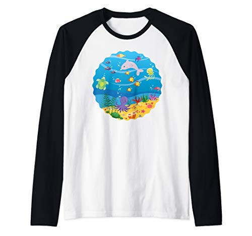 Under The Sea Star Fish Birthday Mom Dad Crew Circle T-shirt Raglan Baseball Tee