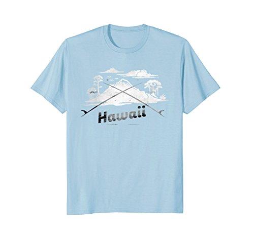 Mens Awesome Hawaii Surf Board T-SHirt XL Baby Blue