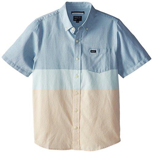 RVCA Big Boys' That'll Do Block Short Sleeve Shirt, Dirty Blue, X-Large