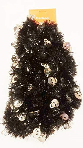 Big City Bargains Made in The USA -Halloween Garland - Black Silver Skulls (15, Black Garland Silver Skulls) -