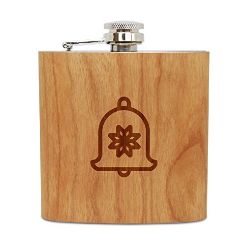 WOODEN ACCESSORIES COMPANY Cherry Wood Flask With Stainless Steel Body - Laser Engraved Flask With Jingle Bell Design - 6 Oz Wood Hip Flask Handmade In USA