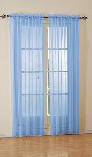 DiamondHome Set of 2 Piece Beautiful Sheer Window Elegance Curtains-Drape-Panels-Treatment 54