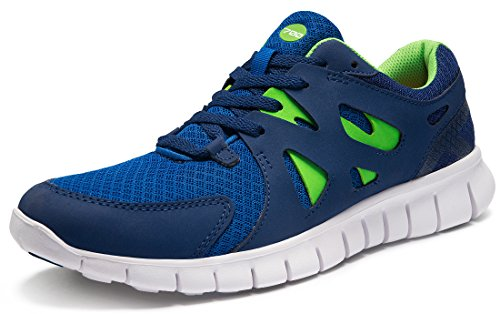 TSLA Men's Lightweight Sports Running Shoes, Flex Mesh(x700) - Blue & Green, 10.5