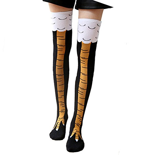 Zoopwon Crazy Funny Chicken Legs Boots Knee/Thigh High Novelty Socks Funny Gag Gifts (Long Yellow Socks)