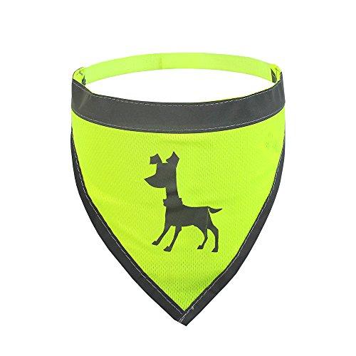 Flexi Alcott Essentials Visibility Dog Bandana, Medium, Neon Yellow with Reflective Accents