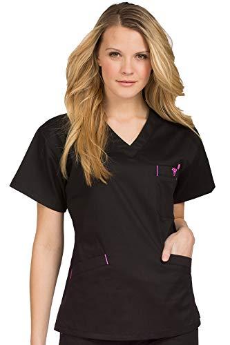 (Med Couture Women's Signature Top, Black/Raspberry, Medium)