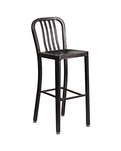 - Offex 30'' High Metal Indoor Outdoor Barstool with Vertical Slat Back, 20
