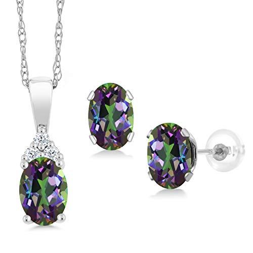 Gem Stone King 1.82 Ct Green Mystic Topaz White Diamond 10K White Gold Pendant Earrings Set ()