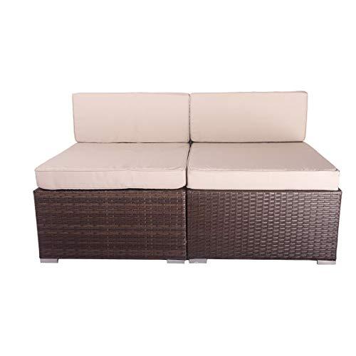 (VANERUM 2 Piece Outdoor Patio PE Rattan Wicker Sofa Sectional Furniture Set (Brown)   Use for Patio,Backyard,Deck,Pool   Incl.Tan Cushions & Seats (2pcs-A, Brown))