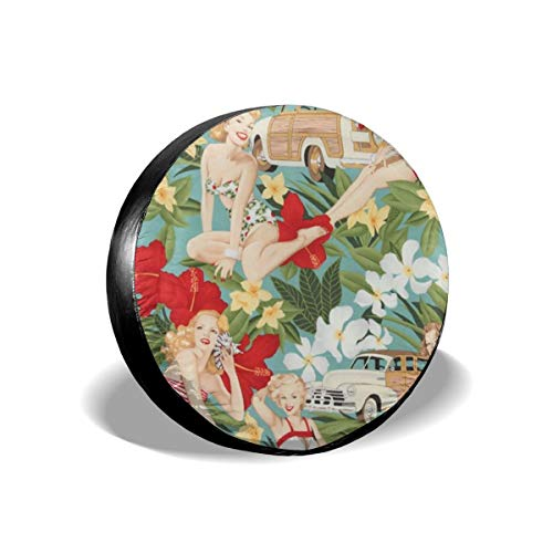 Vintage Tropical Holiday Sexy Girls Spare Tire Cover 14