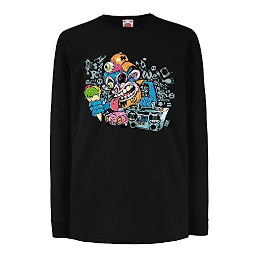 Kids Boys/Girls T-Shirt The Funky Monkey DJ - 80s 1980s Retro Vintage Music Deck Cassette Player (7-8 Years Black Multi - Fashion Wiki 1980s