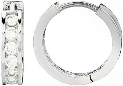 Sterling Silver Channel Set Cubic Zirconia Huggie Hoop Earrings 3x13 Mm