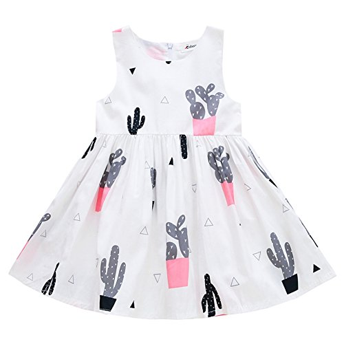 Cactus Costume Uk (ESHOO Kids Baby Girls Dress Cartoon Cactus Printed Sleevelss A-line Summer Dress)