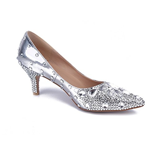 Pearl Toe Low Shoes Pointed Heel Wedding Rhinestone Prom Sarahbridal Evening Bridal Shoes Court Silver Party Women's SMA0430 4HqzR