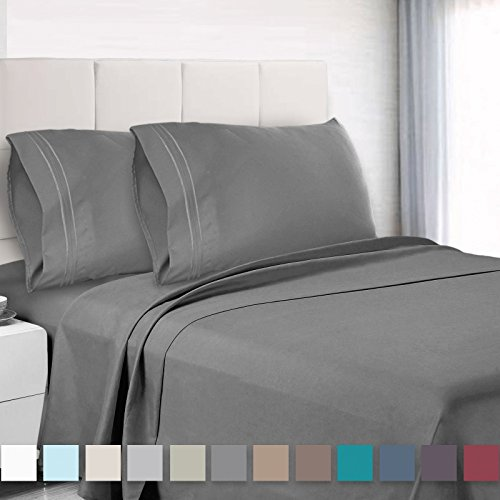 Premium Twin XL Sheets Set - Grey Charcoal  Hotel Luxury 3-P