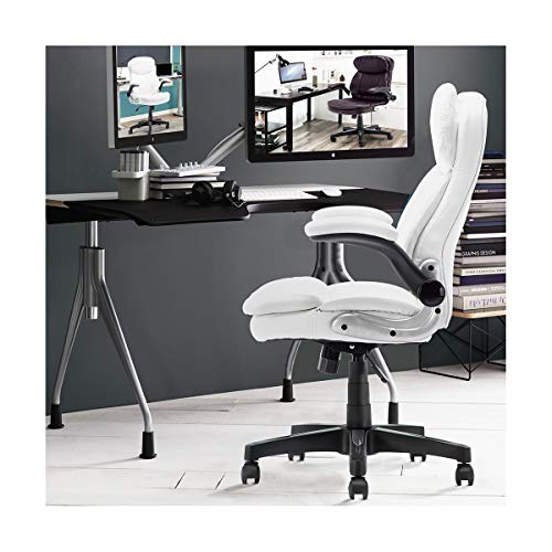(WANGZRY High Back Home Office Chair Leather Computer Desk Chair Executive Chair Ergonomic Adjustable Seat with Comfortable,White)