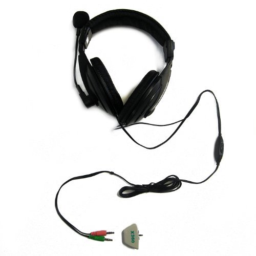 HDE Stereo Gaming Computer Microphone Headset + Xbox 360 Controller Audio Adapter