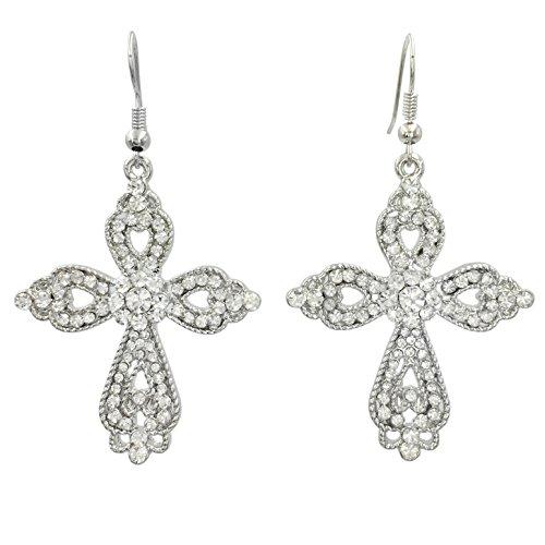 Rhinestone Christian Cross Fancy Bling Dangle Earrings (Elegant Clear Silver Tone)