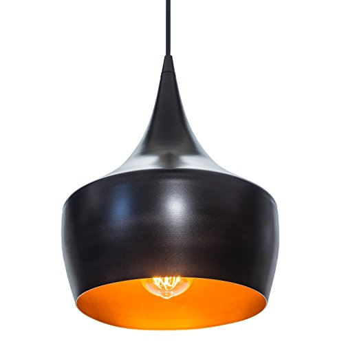 Globe Electric 1-Light Small Modern Industrial Pendant, Oil Rubbed Bronze, Gold Inner Finish, 1x A19 60W Bulb (sold separately), 63871 by Globe Electric (Image #1)