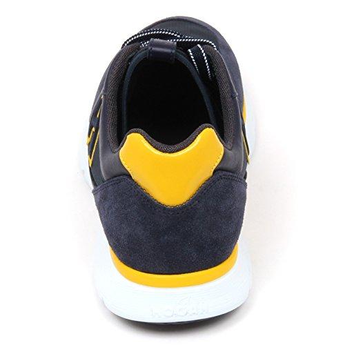 D0120 sneaker uomo HOGAN H254 T2015 scarpa H flock blu scuro shoe man Blu scuro