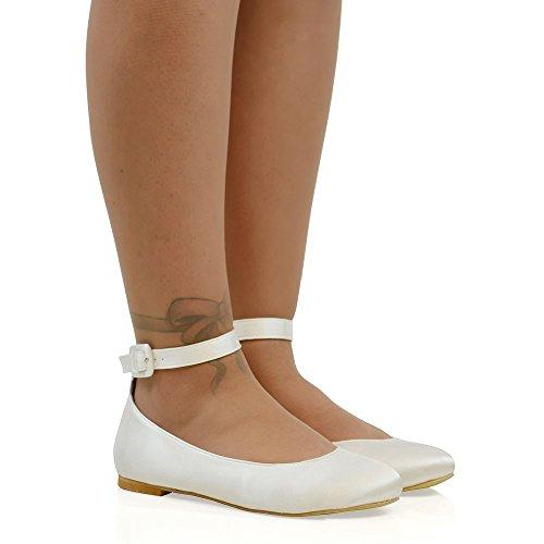 Essex Glam Womens Synthetische Enkelbandje Bruids Ballerina Pumps Schoenen Wit Satijn